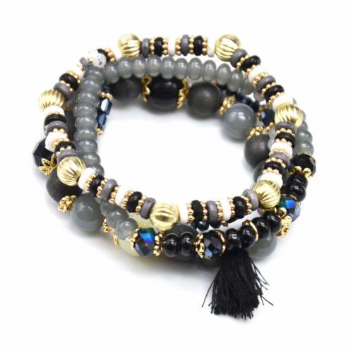 Lot-de-4-Bracelets-Elastique-Perles-et-Pierres-avec-Boules-Metal-Dore-et-Pompon-Noir