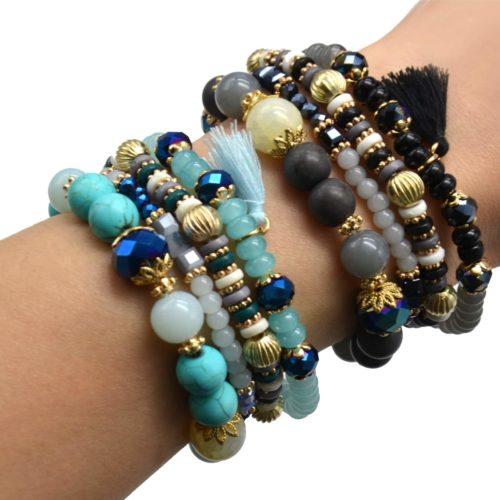Lot-de-4-Bracelets-Elastique-Perles-et-Pierres-avec-Boules-Metal-Dore-et-Pompon