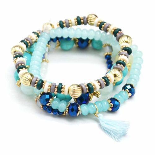 Lot-de-4-Bracelets-Elastique-Perles-et-Pierres-avec-Boules-Metal-Dore-et-Pompon-Bleu