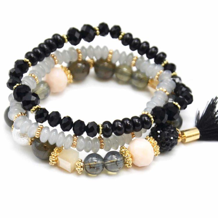 Lot-de-3-Bracelets-Perles-et-Pierres-Elastique-avec-Shamballa-Strass-et-Pompon-Noir