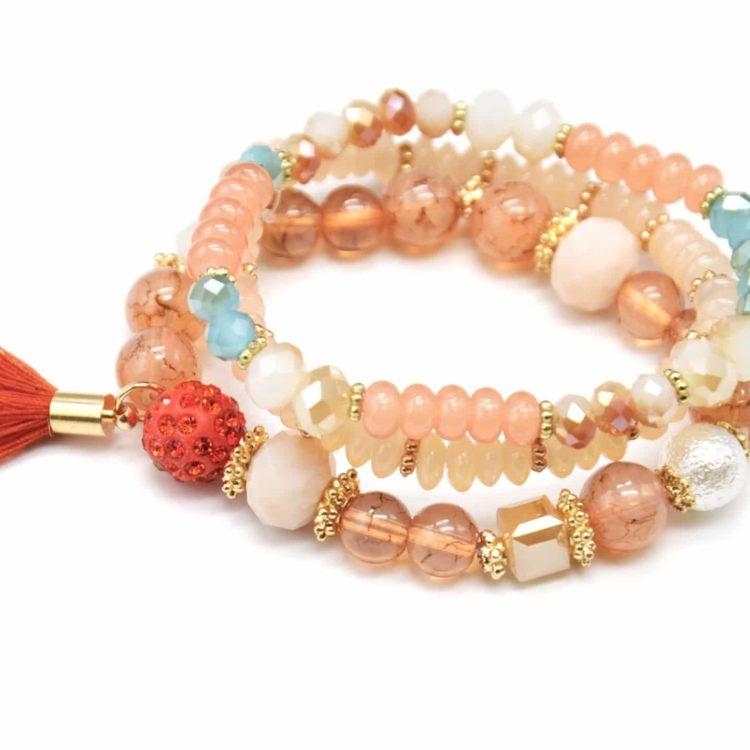 Lot-de-3-Bracelets-Perles-et-Pierres-Elastique-avec-Shamballa-Strass-et-Pompon-Orange