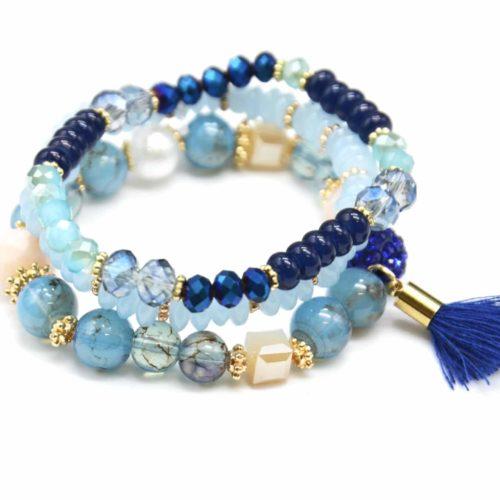 Lot-de-3-Bracelets-Perles-et-Pierres-Elastique-avec-Shamballa-Strass-et-Pompon-Bleu