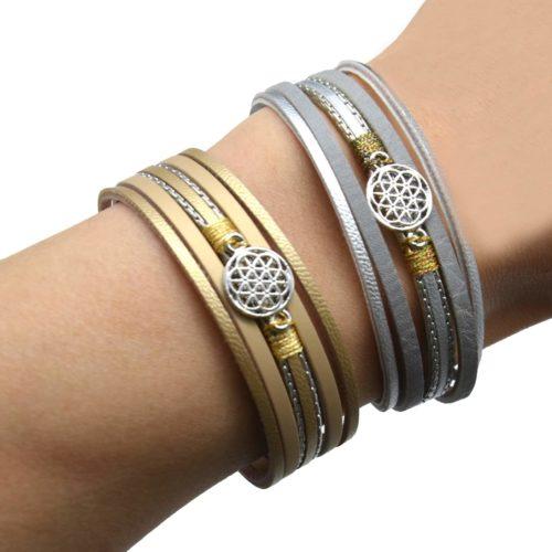 Bracelet-Manchette-Multi-Rangs-Simili-Cuir-avec-Charm-Rosace-Metal-Argente