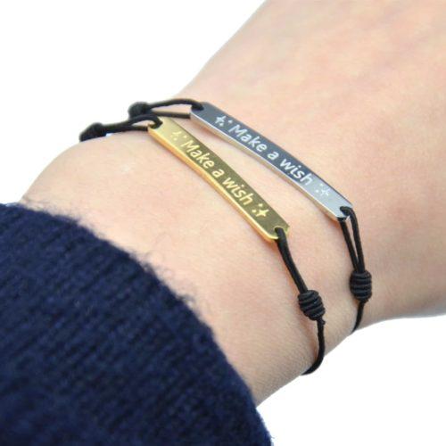Bc2471f bracelet fil elastique noir avec charm flamant rose acier et pompon couleur oh my shop - Fil elastique pour bracelet ...