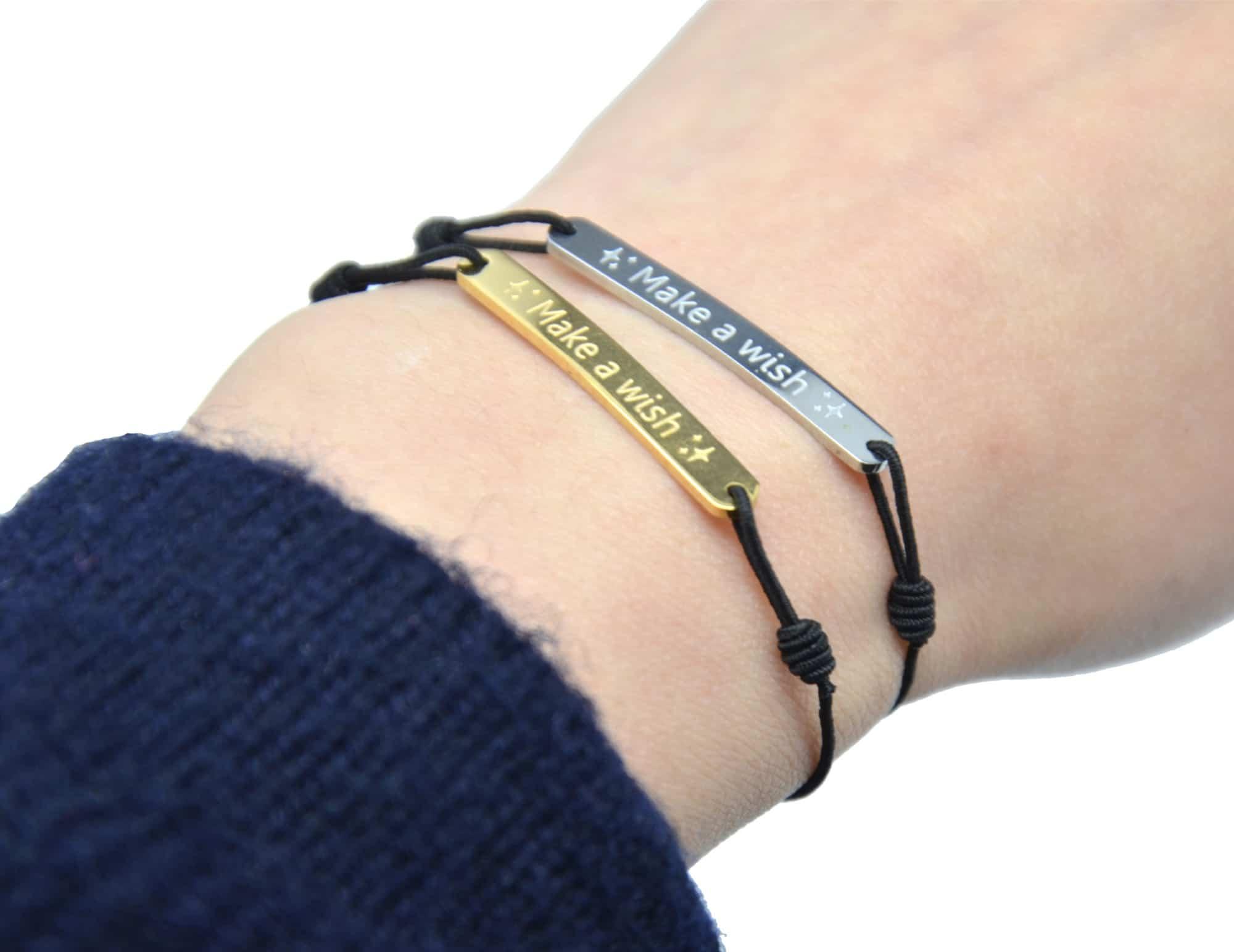 Bc2327d bracelet fil elastique noir avec charm message make a wish acier dor ebay - Fil elastique pour bracelet ...