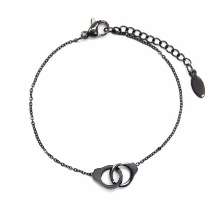Bracelet-Fine-Chaine-avec-Charm-Mini-Menottes-Entrelacees-Acier-Noir