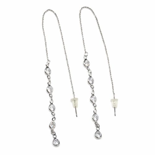 Boucles-dOreilles-Traversantes-Fine-Chaine-Metal-Argente-et-Rangee-Multi-Pierres-Zirconium