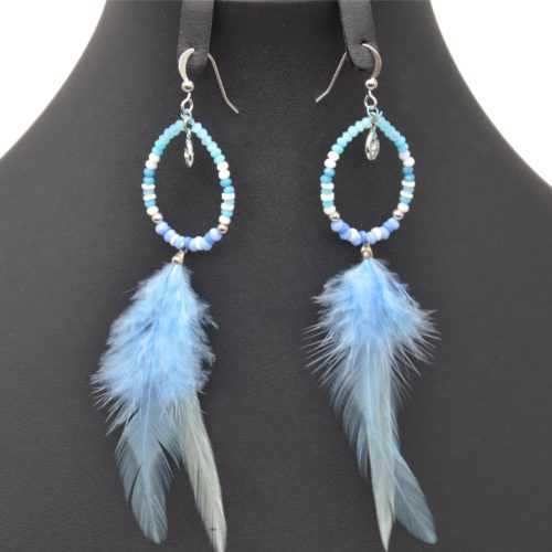 Boucles-dOreilles-Pendantes-Goutte-Pierres-Perles-avec-Plume-Ethnique-Bleu