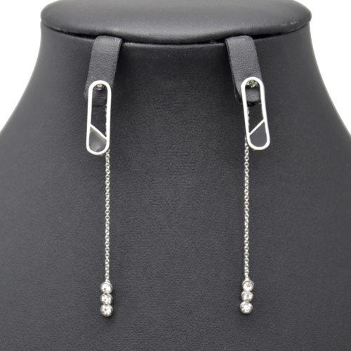 Boucles-dOreilles-Traversantes-Ovale-Metal-Argente-avec-Fine-Chaine-et-Pierres
