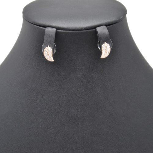 Boucles-dOreilles-Feuille-Metal-Or-Rose-avec-Strass-Zirconium