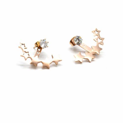 Boucles-dOreilles-Balancier-2-en-1-Pierre-avec-Multi-Etoiles-Acier-Or-Rose