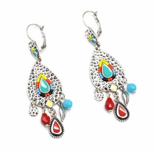 Boucles-dOreilles-Pendantes-Goutte-Metal-Relief-Argente-avec-Perles-Multicolore-et-Multi-Charms-Ethnique