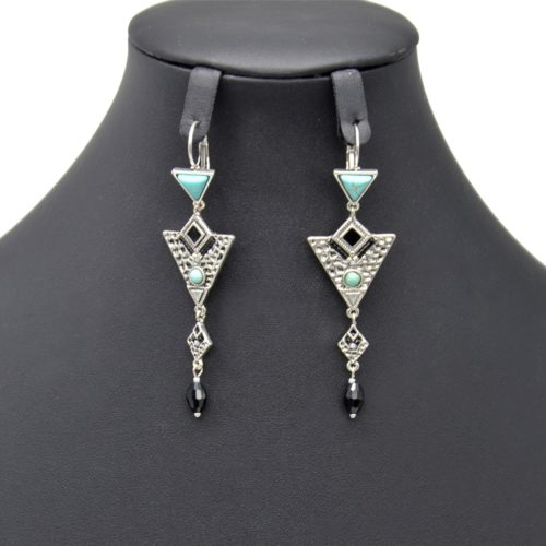 Boucles-dOreilles-Pendantes-Triangle-Metal-Relief-Argente-avec-Pierres-Turquoise-et-Perle-Noire
