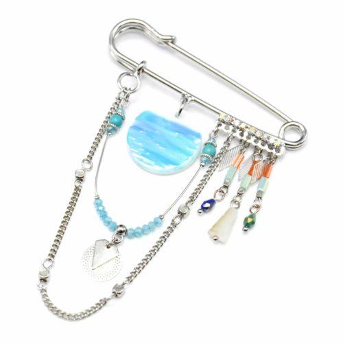 Broche-Epingle-Cercle-Nacre-Peint-Turquoise-avec-Perles-et-Chaine-Metal-Argente