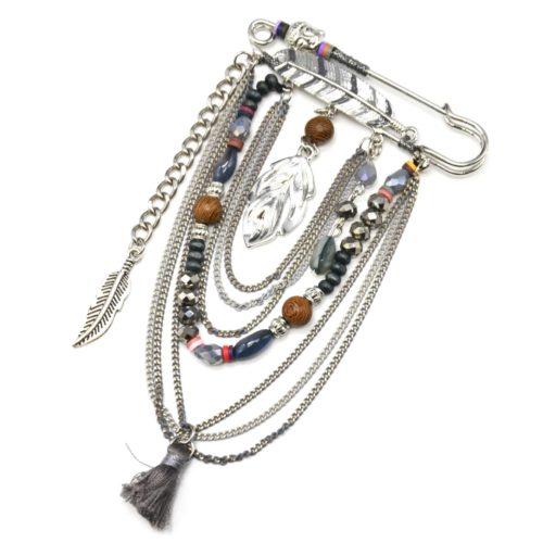 Broche-Epingle-Bouddha-Plumes-Ethnique-avec-Perles-Multi-Chaines-Metal-Argente-et-Pompon-Gris