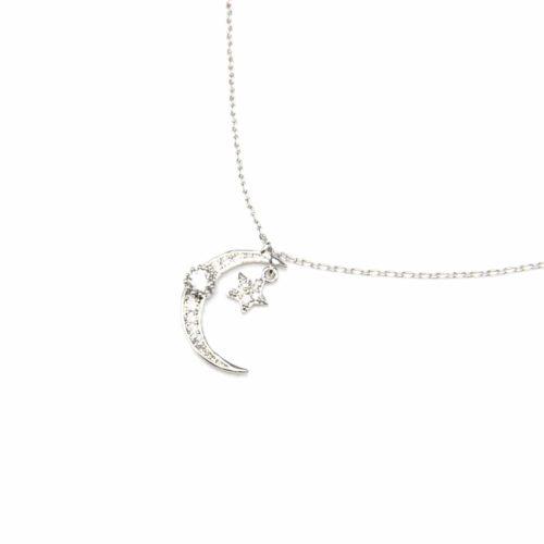 Collier-Fine-Chaine-Pendentif-Lune-et-Etoile-Metal-Argente-avec-Strass-Zirconium