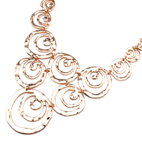 Collier-Plastron-Statement-Pendentif-Multi-Cercles-Ajoures-Metal-Relief-Or-Rose