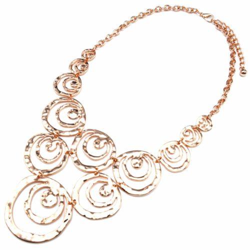 Collier-Plastron-Statement-Pendentif-Multi-Cercles-Ajoures-Metal-Relief-Or-Rose