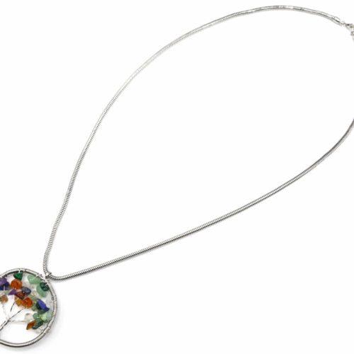 Sautoir-Collier-Pendentif-Cercle-Contour-Metal-Torsade-Argente-avec-Arbre-de-Vie-Pierres-Multicolore
