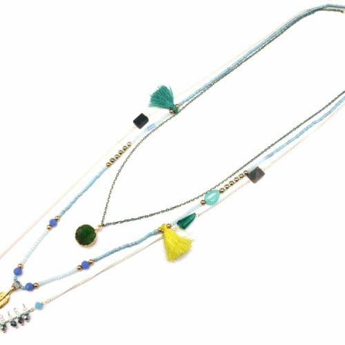 Sautoir-Collier-Triple-Chaines-avec-Pendentifs-Pierre-Verte-Pompon-Plume-Ethnique-et-Perles