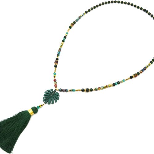 Sautoir-Collier-Perles-Verre-et-Brillantes-avec-Feuille-Resine-et-Pompon-Vert-Sapin