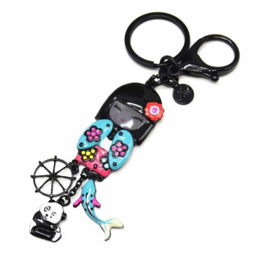 Porte-Cles-Bijou-de-Sac-Poupee-Kimono-Japonais-Email-Turquoise-avec-Panda-et-Multi-Charms