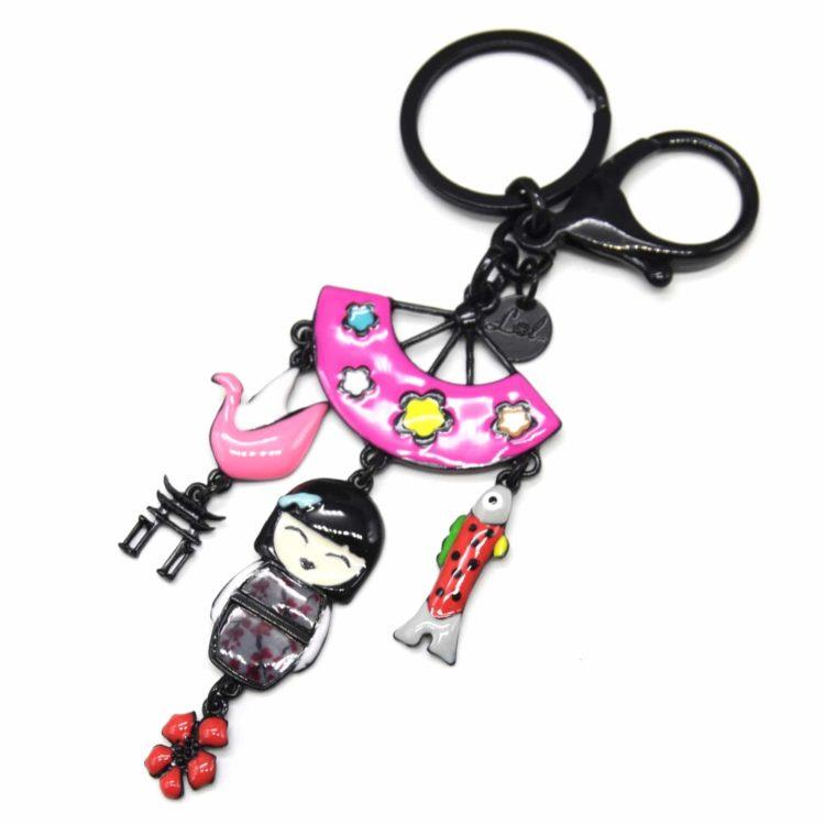 Porte-Cles-Bijou-de-Sac-Poupee-Kimono-Japonais-Email-Gris-avec-Eventail-et-Multi-Charms