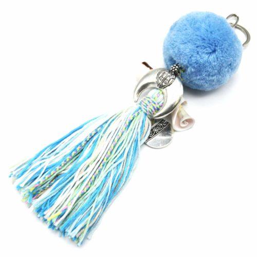Porte-Cles-Bijou-de-Sac-Pompon-Boule-Bleu-avec-Corne-Coquillages-et-Fils-Degrade