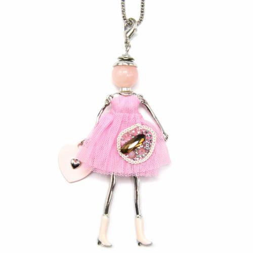Sautoir-Collier-Pendentif-Poupee-Articulee-Femme-Robe-Tulle-Rose-avec-Perles-et-Bottes