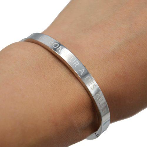 Bracelet-Jonc-Moyen-Acier-Argente-avec-Message-Le-Bonheur-A-Des-Ailes