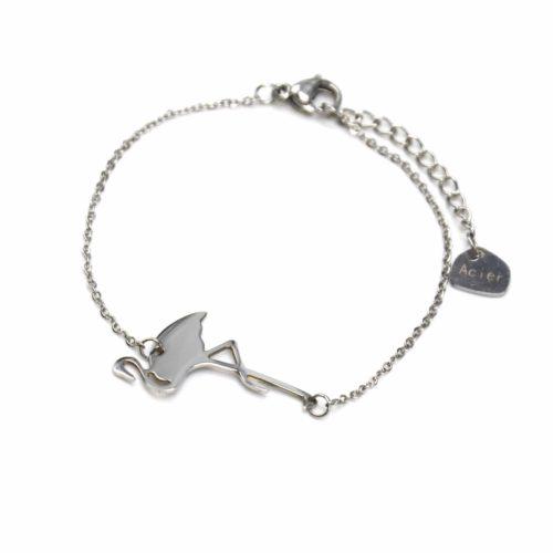 Bracelet-Fine-Chaine-avec-Charm-Flamant-Rose-Acier-Argente