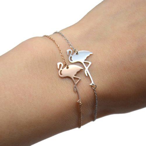 Bracelet-Fine-Chaine-avec-Charm-Flamant-Rose-Acier