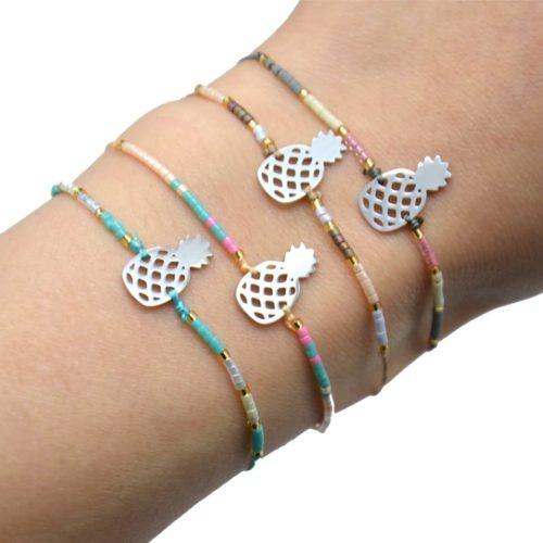Bracelet-Cordon-Ajustable-avec-Perles-Rocaille-et-Ananas-Acier-Argente