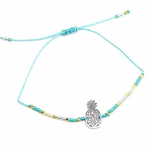 Bracelet-Cordon-Ajustable-Turquoise-avec-Perles-Rocaille-et-Ananas-Acier-Argente