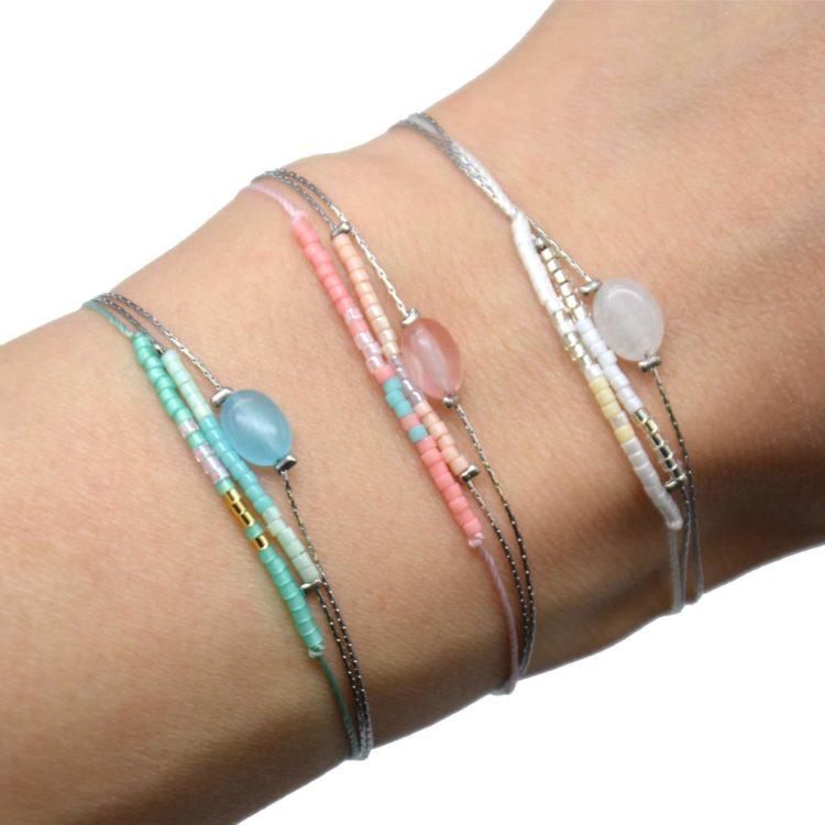Bracelet-Multi-Rangs-Chaines-Acier-avec-Charm-Pierre-et-Perles-Rocaille