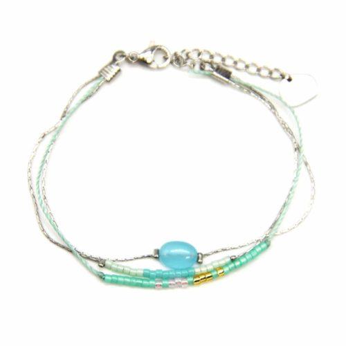 Bracelet-Multi-Rangs-Chaines-Acier-avec-Charm-Pierre-Mint-et-Perles-Rocaille