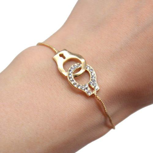 Bracelet-Chaine-Ajustable-avec-Menottes-Metal-Contour-Strass-Dore