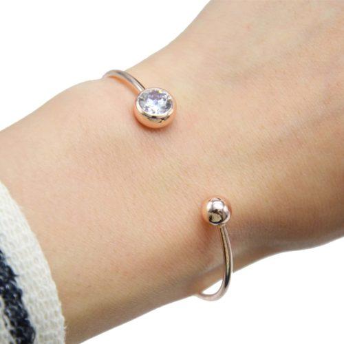 Bracelet-Jonc-Ouvert-avec-Pierre-Ronde-et-Boule-Metal-Or-Rose