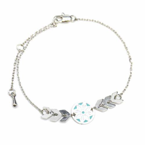Bracelet-Fine-Chaine-avec-Charm-Cercle-Motif-Ethnique-Turquoise-et-Chevrons-Metal-Argente