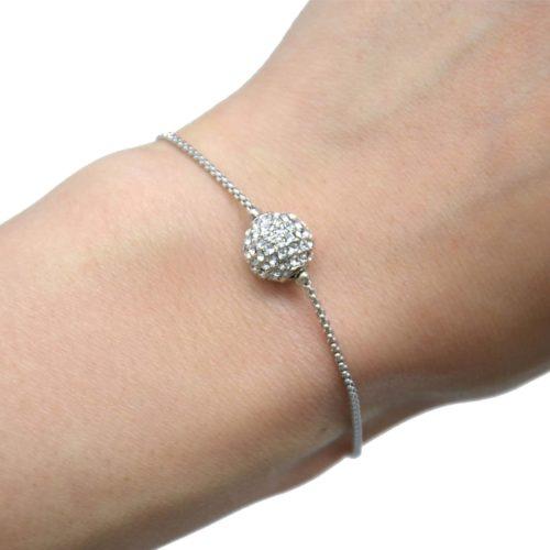 Bracelet-Chaine-Ajustable-Metal-Argente-avec-Charm-Boule-Strass