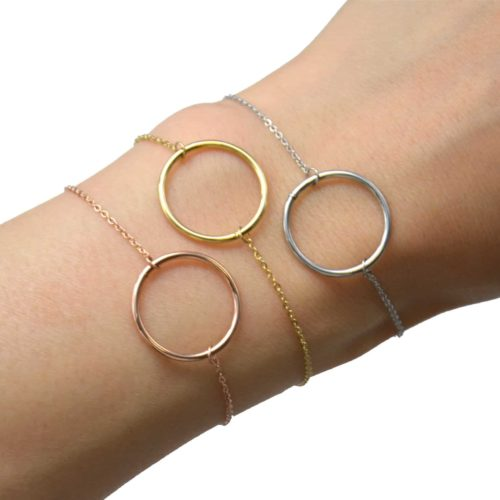 Bracelet-Fine-Chaine-avec-Charm-Cercle-Contour-Acier