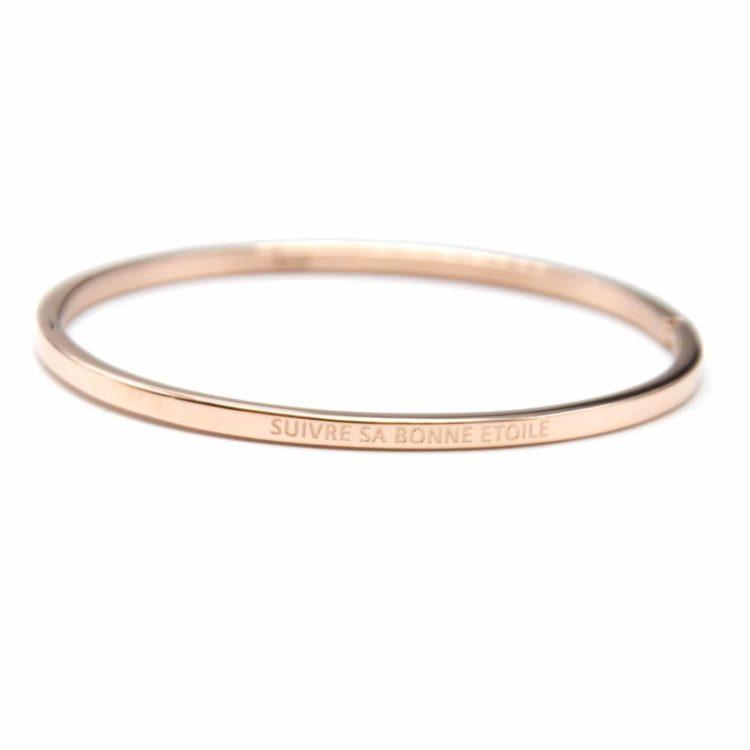 Bracelet-Jonc-Fin-Acier-Or-Rose-avec-Message-Suivre-Sa-Bonne-Etoile