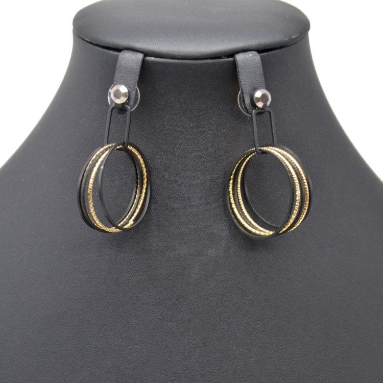 Boucles-dOreilles-Pendantes-Pierre-et-Multi-Cercles-Ouverts-Metal-Noir-Dore