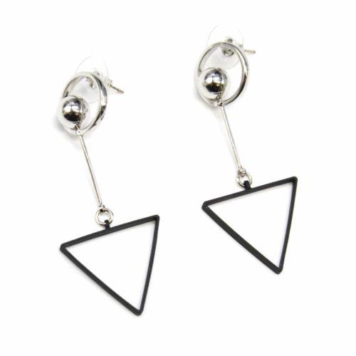Boucles-dOreilles-Pendantes-Cercle-et-Boule-Metal-Argente-avec-Triangle-Ouvert-Noir