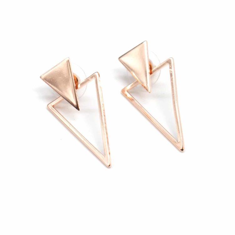 Boucles-dOreilles-Traversantes-2-en-1-Double-Triangles-Metal-Or-Rose