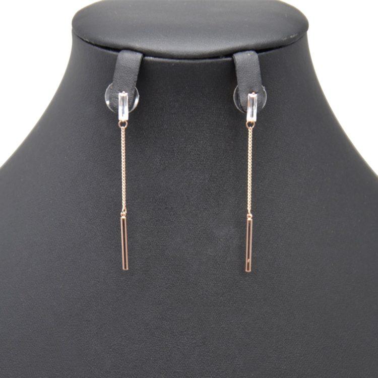 Boucles-dOreilles-Pendantes-Pierre-Zirconium-et-Chaine-avec-Barre-Metal-Or-Rose