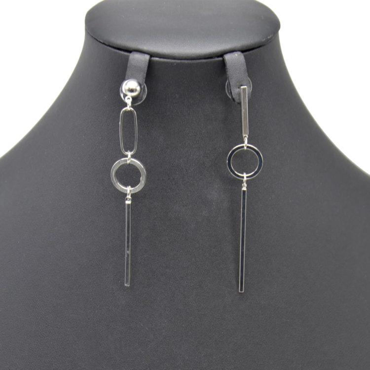 Boucles-dOreilles-Pendantes-Asymetriques-Boule-et-Cercle-Ouvert-avec-Barre-Metal-Argente