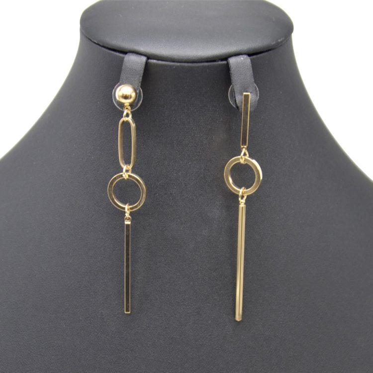 Boucles-dOreilles-Pendantes-Asymetriques-Boule-et-Cercle-Ouvert-avec-Barre-Metal-Dore