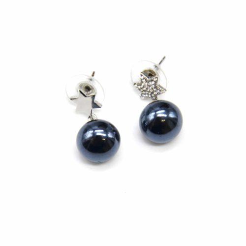 Boucles-dOreilles-Pendantes-Etoile-Strass-et-Metal-Argente-avec-Perle-Nacree-Noir-Bleu