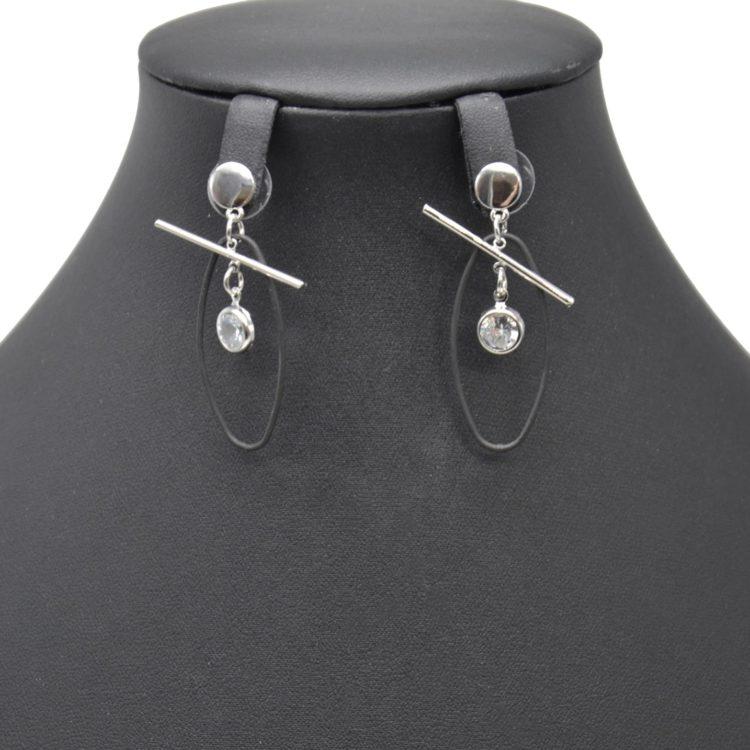 Boucles-dOreilles-Pendantes-Cercle-et-Barre-Metal-Argente-avec-Ovale-Ouvert-Noir-et-Pierre-Zirconium
